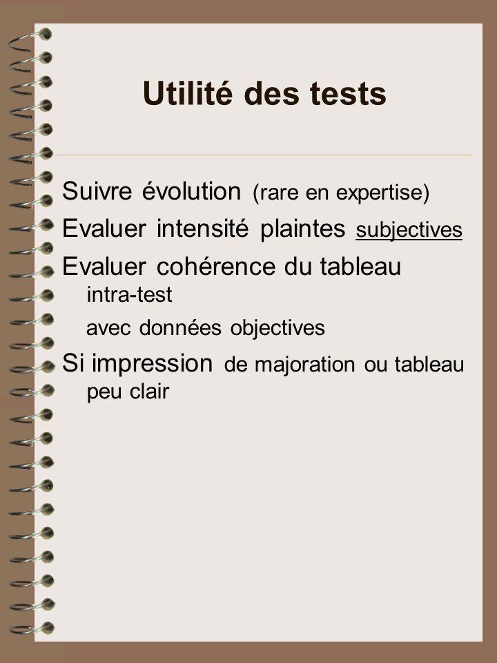 Limites des tests en expertise Nest pas instrument diagnostique Ne mesure quun aspect de la maladie Toujours corréler avec clinique (données subjectives et objectives) Validité en expertise .