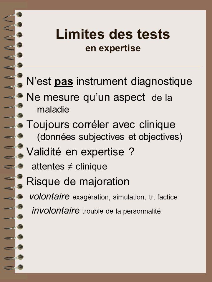 Dangers des tests en expertise Pseudo-objectivation Pris « pour argent comptant » par: expert, confrère, expertisé, avocat, assureur, juge Futur .