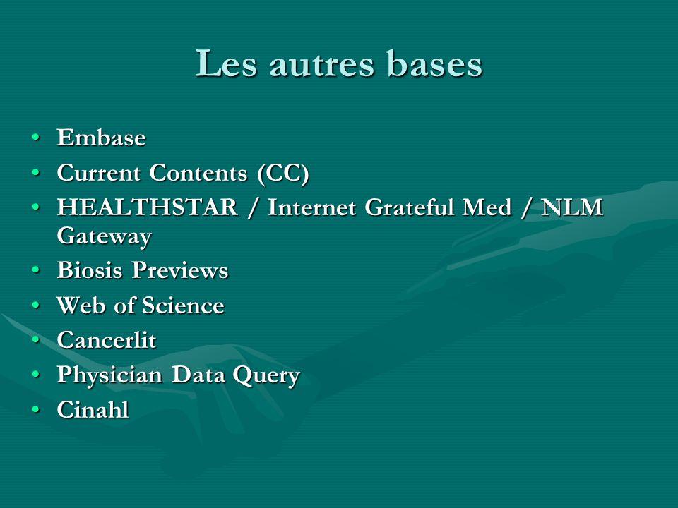 Bases de données analytiques Bases de données analytiques Il existe également une série de bases de données qui sont accessibles via Internet et qui fournissent directement aux utilisateurs des données revues par des experts :Il existe également une série de bases de données qui sont accessibles via Internet et qui fournissent directement aux utilisateurs des données revues par des experts :
