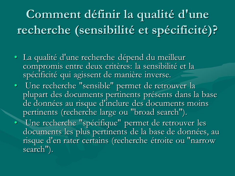 Comment définir la qualité d'une recherche (sensibilité et spécificité)? La qualité d'une recherche dépend du meilleur compromis entre deux critères: