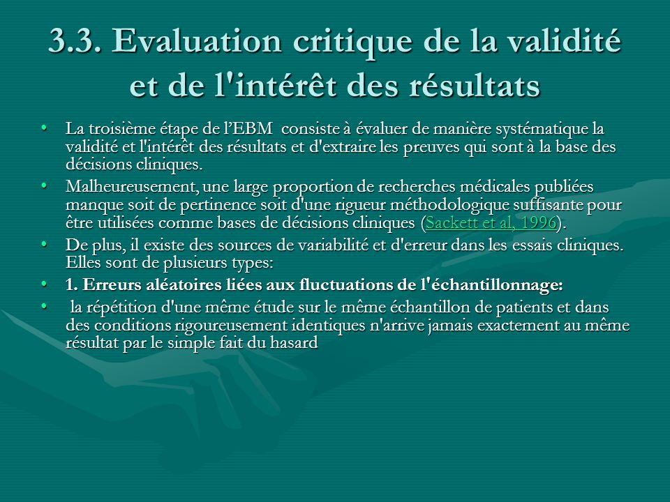 3.3. Evaluation critique de la validité et de l'intérêt des résultats La troisième étape de lEBM consiste à évaluer de manière systématique la validit