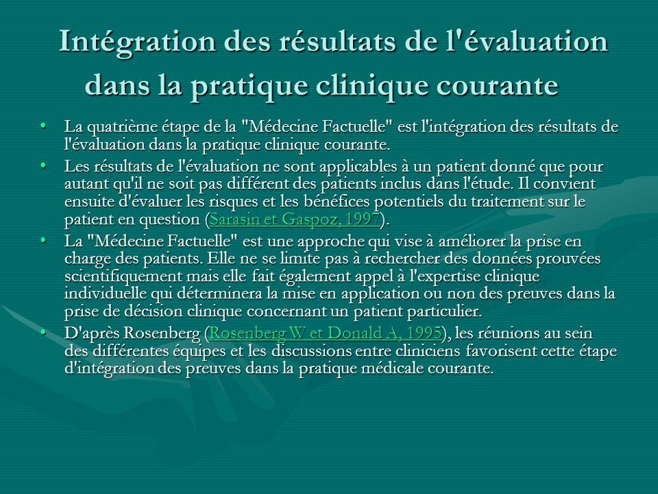 Intégration des résultats de l'évaluation dans la pratique clinique courante Intégration des résultats de l'évaluation dans la pratique clinique coura
