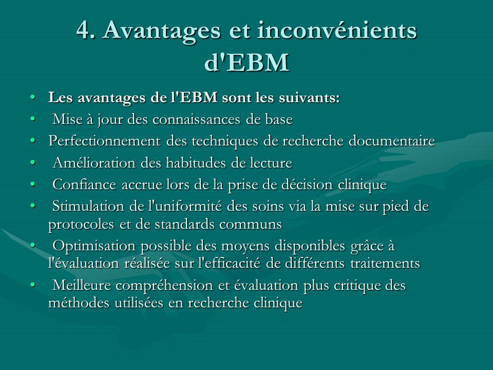Accessibilité à des praticiens de niveaux différents (cliniciens expérimentés, assistants, étudiants) et également à des non-cliniciens Amélioration de la communication entre les cliniciens et les autres scientifiquesAccessibilité à des praticiens de niveaux différents (cliniciens expérimentés, assistants, étudiants) et également à des non-cliniciens Amélioration de la communication entre les cliniciens et les autres scientifiques Les inconvénients de l EBM :Les inconvénients de l EBM : Besoin de temps pour l apprentissage et la pratique de la méthode Besoin de temps pour l apprentissage et la pratique de la méthode Nécessité d un minimum de matériel et de connaissances informatiques Nécessité d un minimum de matériel et de connaissances informatiques