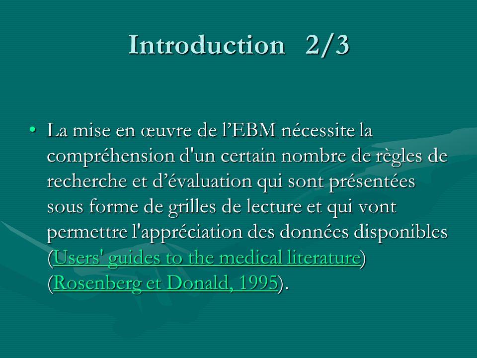 Introduction 2/3 La mise en œuvre de lEBM nécessite la compréhension d'un certain nombre de règles de recherche et dévaluation qui sont présentées sou