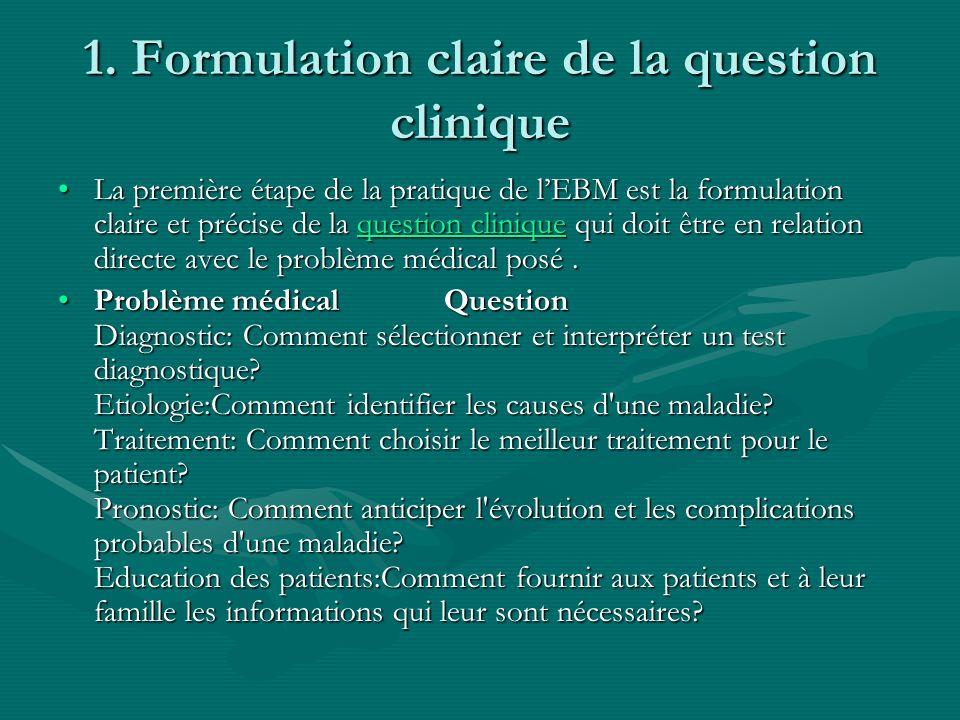 1. Formulation claire de la question clinique La première étape de la pratique de lEBM est la formulation claire et précise de la question clinique qu