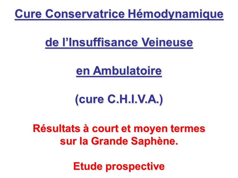 Cure Conservatrice Hémodynamique de lInsuffisance Veineuse en Ambulatoire (cure C.H.I.V.A.) Résultats à court et moyen termes sur la Grande Saphène. E