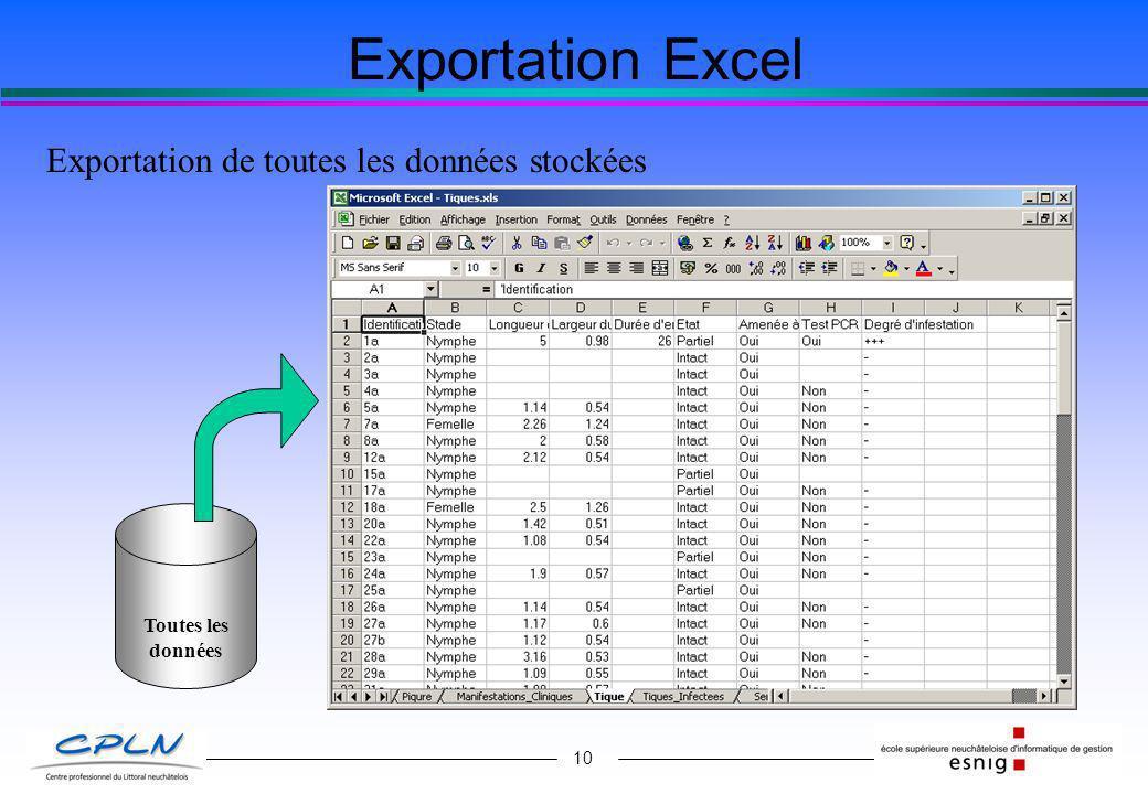 10 Exportation Excel Exportation de toutes les données stockées Toutes les données