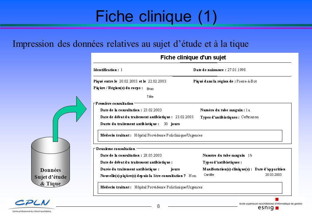 8 Fiche clinique (1) Impression des données relatives au sujet détude et à la tique Données Sujet détude & Tique