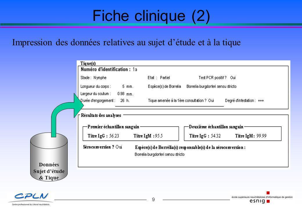 9 Fiche clinique (2) Impression des données relatives au sujet détude et à la tique Données Sujet détude & Tique