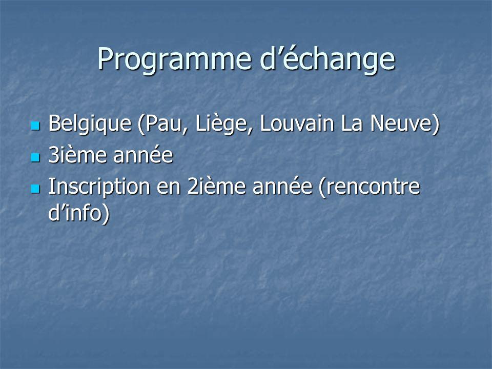 Programme déchange Belgique (Pau, Liège, Louvain La Neuve) Belgique (Pau, Liège, Louvain La Neuve) 3ième année 3ième année Inscription en 2ième année (rencontre dinfo) Inscription en 2ième année (rencontre dinfo)