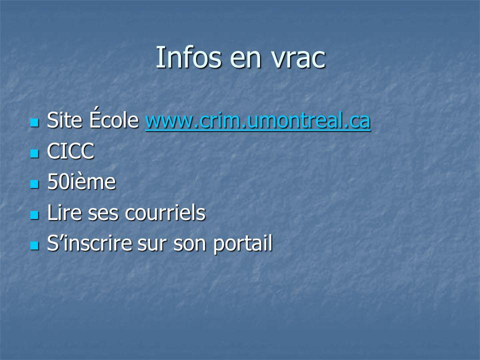 Infos en vrac Site École www.crim.umontreal.ca Site École www.crim.umontreal.cawww.crim.umontreal.ca CICC CICC 50ième 50ième Lire ses courriels Lire ses courriels Sinscrire sur son portail Sinscrire sur son portail