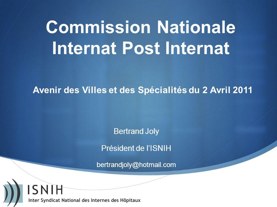 Commission Nationale Internat Post Internat Bertrand Joly Président de lISNIH bertrandjoly@hotmail.com Avenir des Villes et des Spécialités du 2 Avril