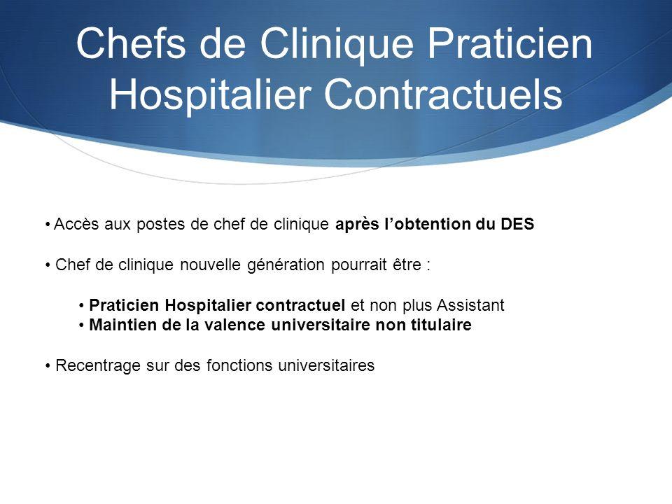 Chefs de Clinique Praticien Hospitalier Contractuels Accès aux postes de chef de clinique après lobtention du DES Chef de clinique nouvelle génération