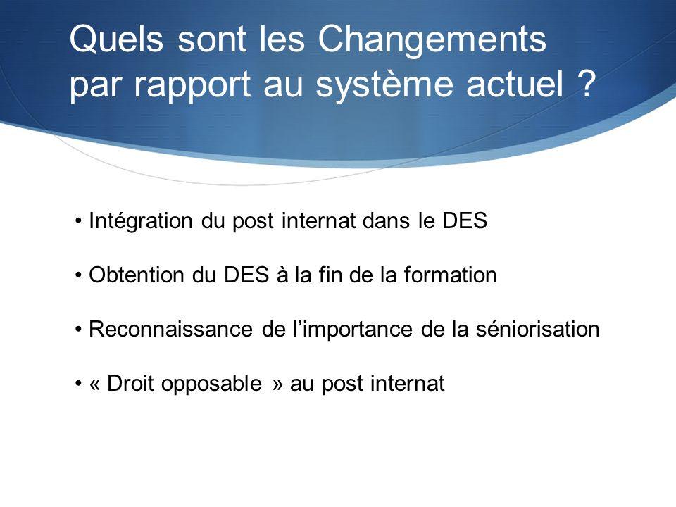 Intégration du post internat dans le DES Obtention du DES à la fin de la formation Reconnaissance de limportance de la séniorisation « Droit opposable
