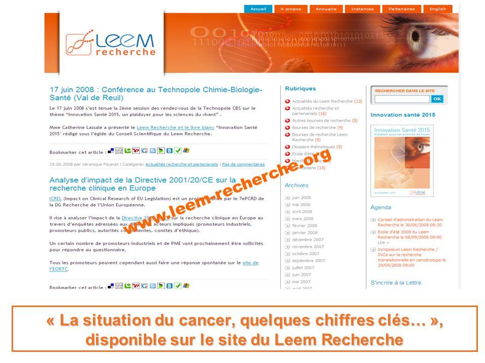 La recherche avance, la vie progresse. « La situation du cancer, quelques chiffres clés… », disponible sur le site du Leem Recherche www.leem-recherch