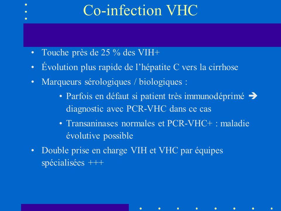 Co-infection VHC Touche près de 25 % des VIH+ Évolution plus rapide de lhépatite C vers la cirrhose Marqueurs sérologiques / biologiques : Parfois en