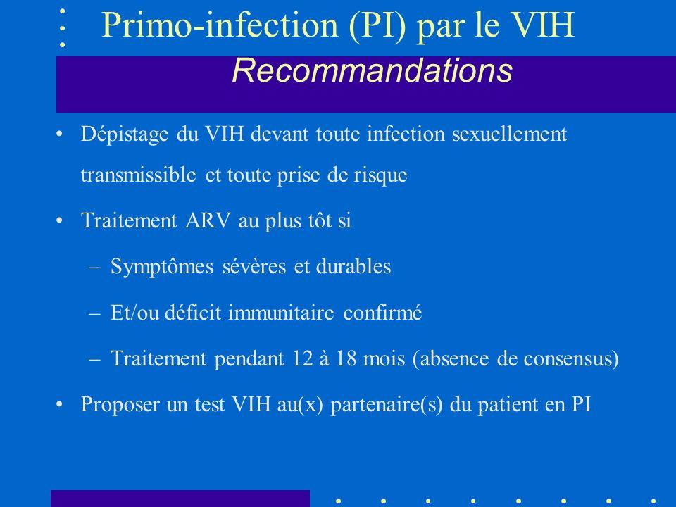 Primo-infection (PI) par le VIH Recommandations Dépistage du VIH devant toute infection sexuellement transmissible et toute prise de risque Traitement ARV au plus tôt si –Symptômes sévères et durables –Et/ou déficit immunitaire confirmé –Traitement pendant 12 à 18 mois (absence de consensus) Proposer un test VIH au(x) partenaire(s) du patient en PI