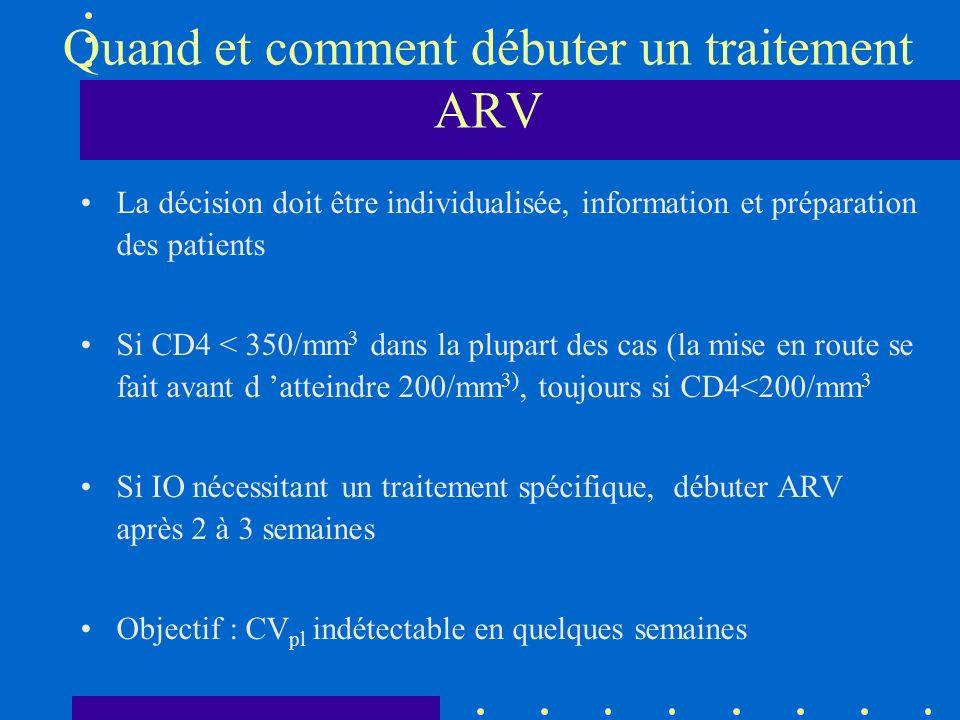Quand et comment débuter un traitement ARV La décision doit être individualisée, information et préparation des patients Si CD4 < 350/mm 3 dans la plupart des cas (la mise en route se fait avant d atteindre 200/mm 3), toujours si CD4<200/mm 3 Si IO nécessitant un traitement spécifique, débuter ARV après 2 à 3 semaines Objectif : CV pl indétectable en quelques semaines