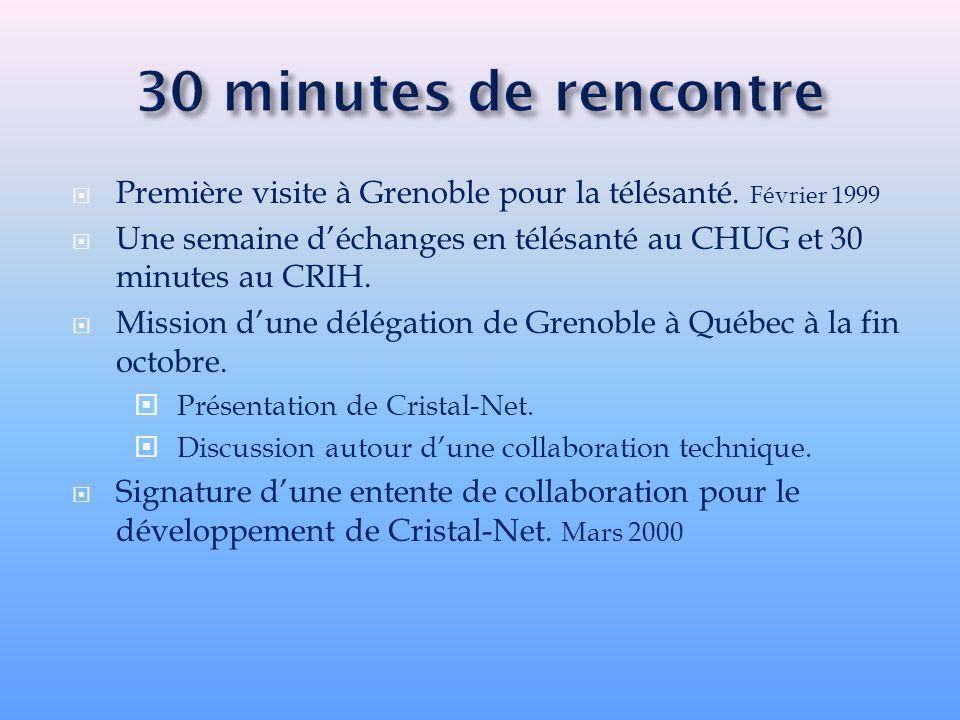 Première visite à Grenoble pour la télésanté. Février 1999 Une semaine déchanges en télésanté au CHUG et 30 minutes au CRIH. Mission dune délégation d