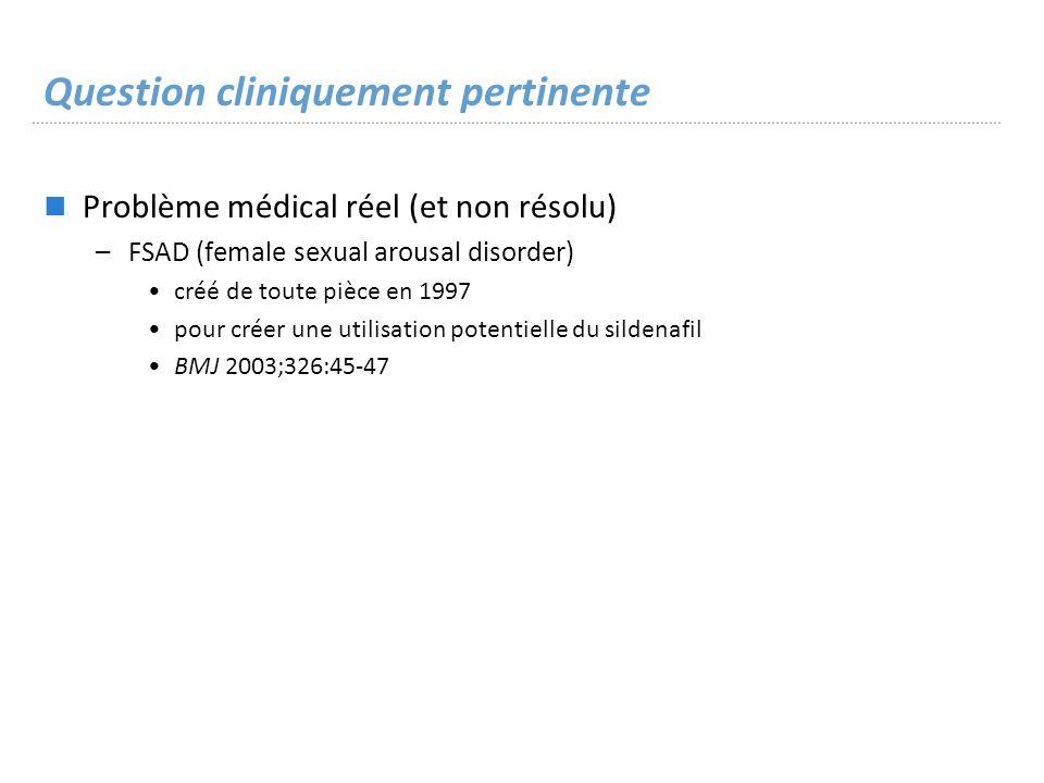 Question cliniquement pertinente Problème médical réel (et non résolu) –FSAD (female sexual arousal disorder) créé de toute pièce en 1997 pour créer une utilisation potentielle du sildenafil BMJ 2003;326:45-47