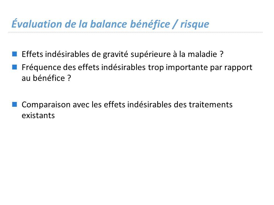 Évaluation de la balance bénéfice / risque Effets indésirables de gravité supérieure à la maladie .