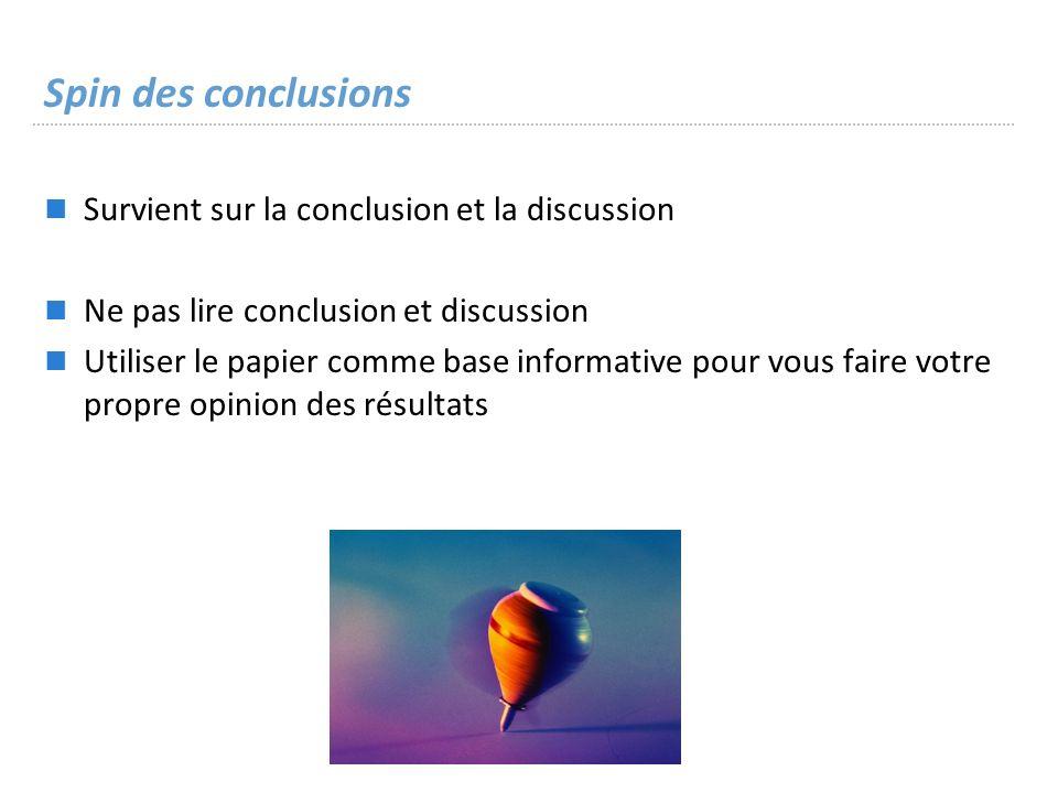 Spin des conclusions Survient sur la conclusion et la discussion Ne pas lire conclusion et discussion Utiliser le papier comme base informative pour vous faire votre propre opinion des résultats