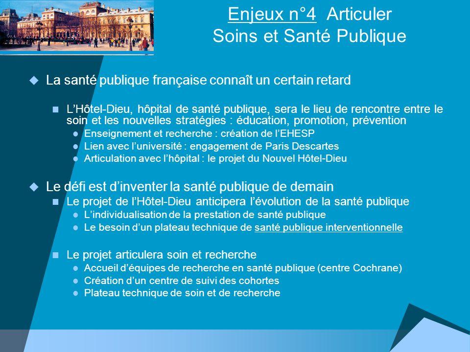Enjeux n°4 Articuler Soins et Santé Publique La santé publique française connaît un certain retard LHôtel-Dieu, hôpital de santé publique, sera le lie