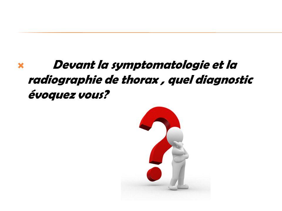 Devant la symptomatologie et la radiographie de thorax, quel diagnostic évoquez vous?