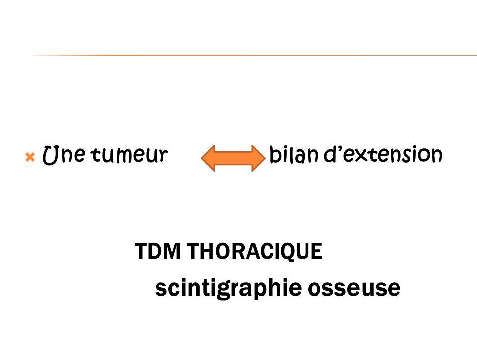 Une tumeur bilan dextension TDM THORACIQUE scintigraphie osseuse