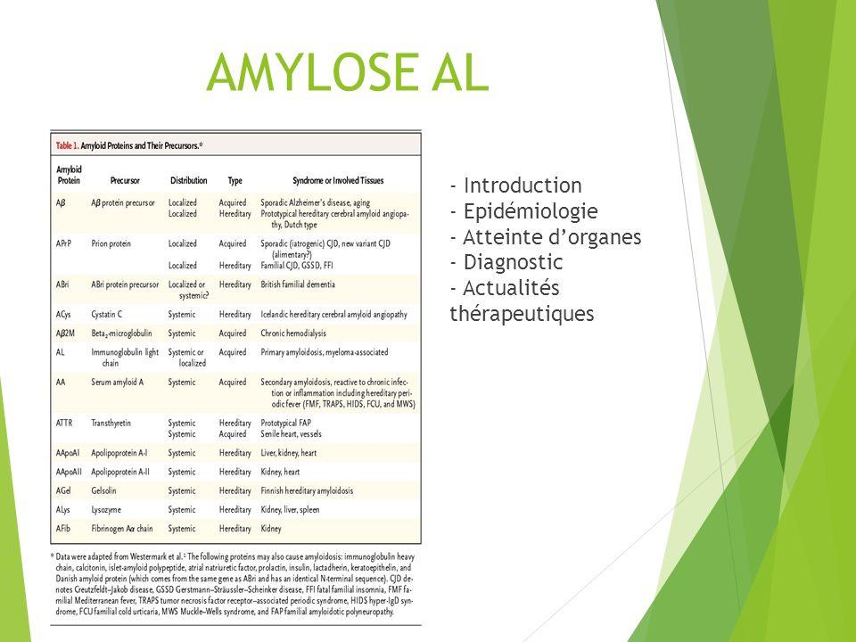 AMYLOSE AL - Introduction - Epidémiologie - Atteinte dorganes - Diagnostic - Actualités thérapeutiques