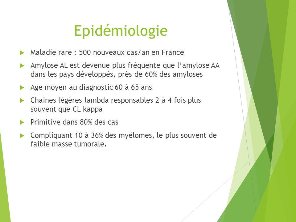 Epidémiologie Maladie rare : 500 nouveaux cas/an en France Amylose AL est devenue plus fréquente que lamylose AA dans les pays développés, près de 60%