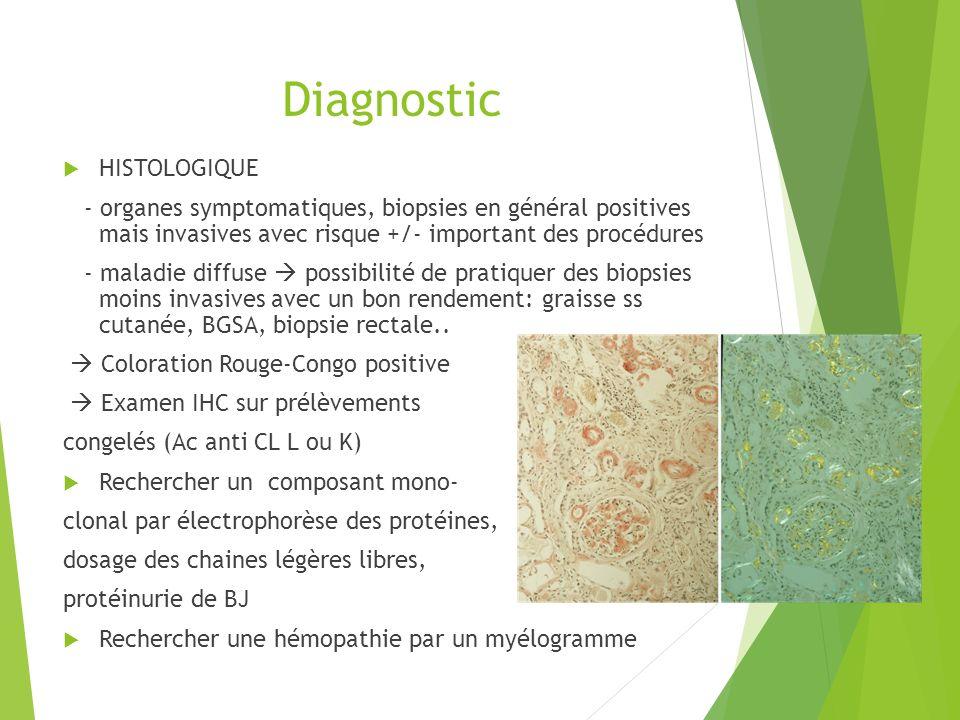 Diagnostic HISTOLOGIQUE - organes symptomatiques, biopsies en général positives mais invasives avec risque +/- important des procédures - maladie diff