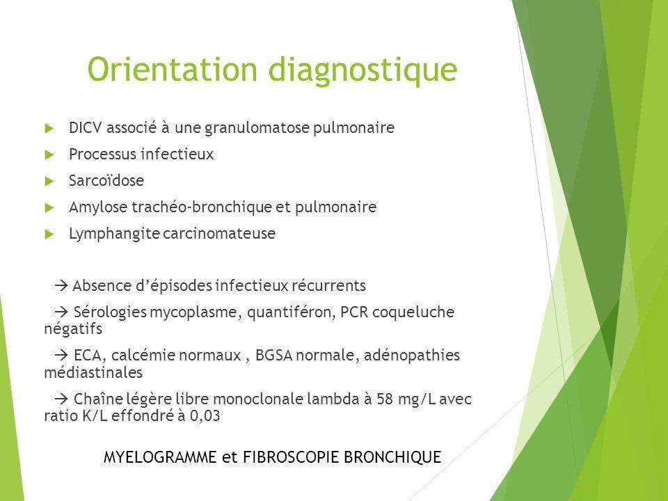 Orientation diagnostique DICV associé à une granulomatose pulmonaire Processus infectieux Sarcoïdose Amylose trachéo-bronchique et pulmonaire Lymphang
