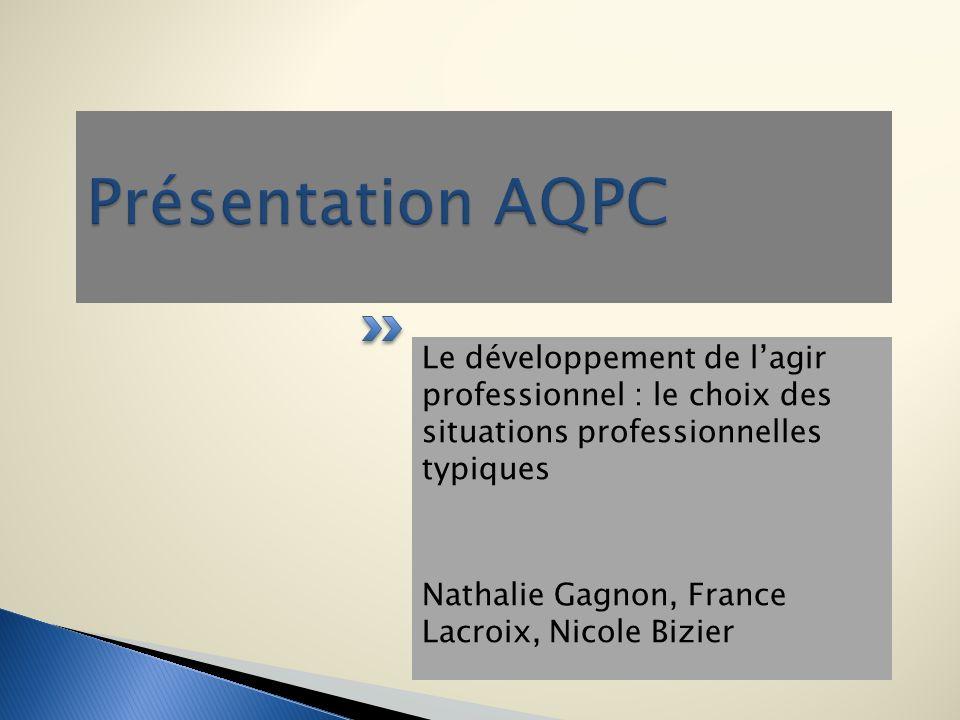 Le développement de lagir professionnel : le choix des situations professionnelles typiques Nathalie Gagnon, France Lacroix, Nicole Bizier