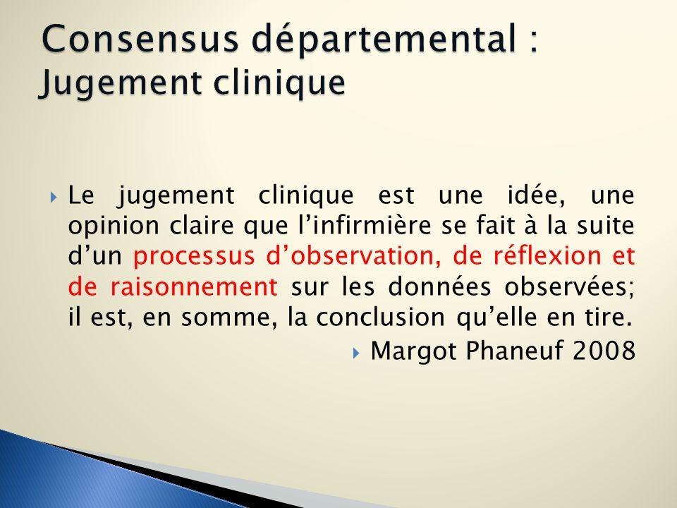 Le jugement clinique est une idée, une opinion claire que linfirmière se fait à la suite dun processus dobservation, de réflexion et de raisonnement s