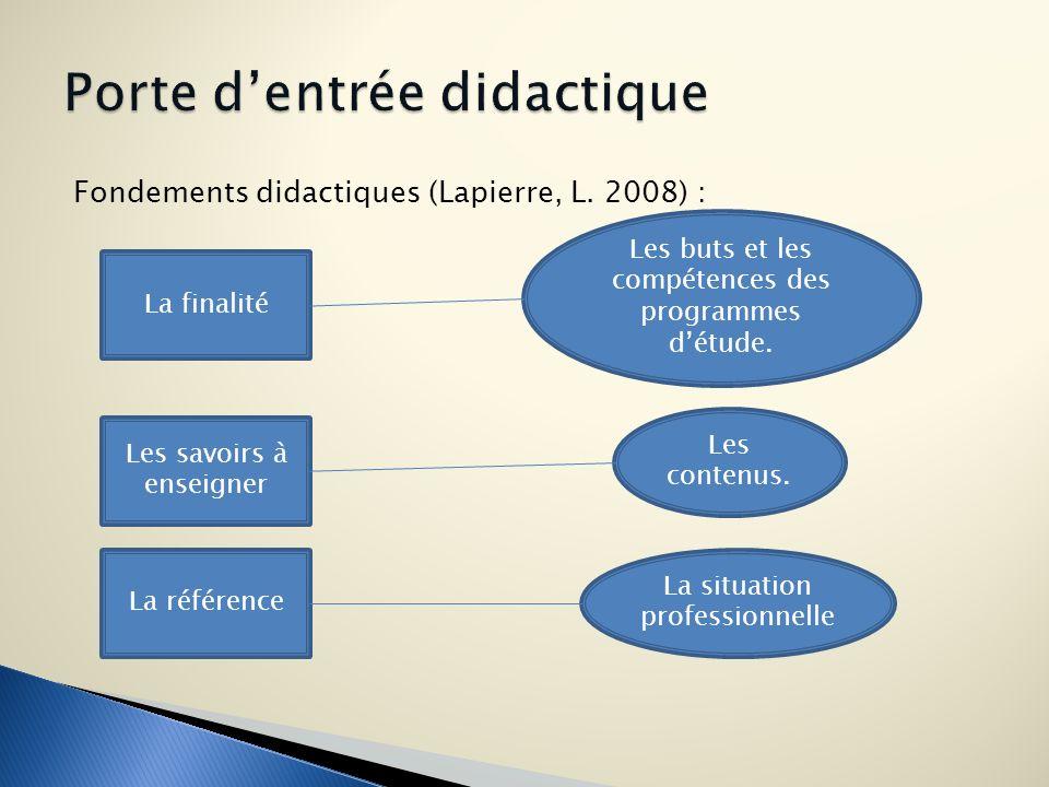 Fondements didactiques (Lapierre, L. 2008) : La finalité Les savoirs à enseigner La référence Les buts et les compétences des programmes détude. La si