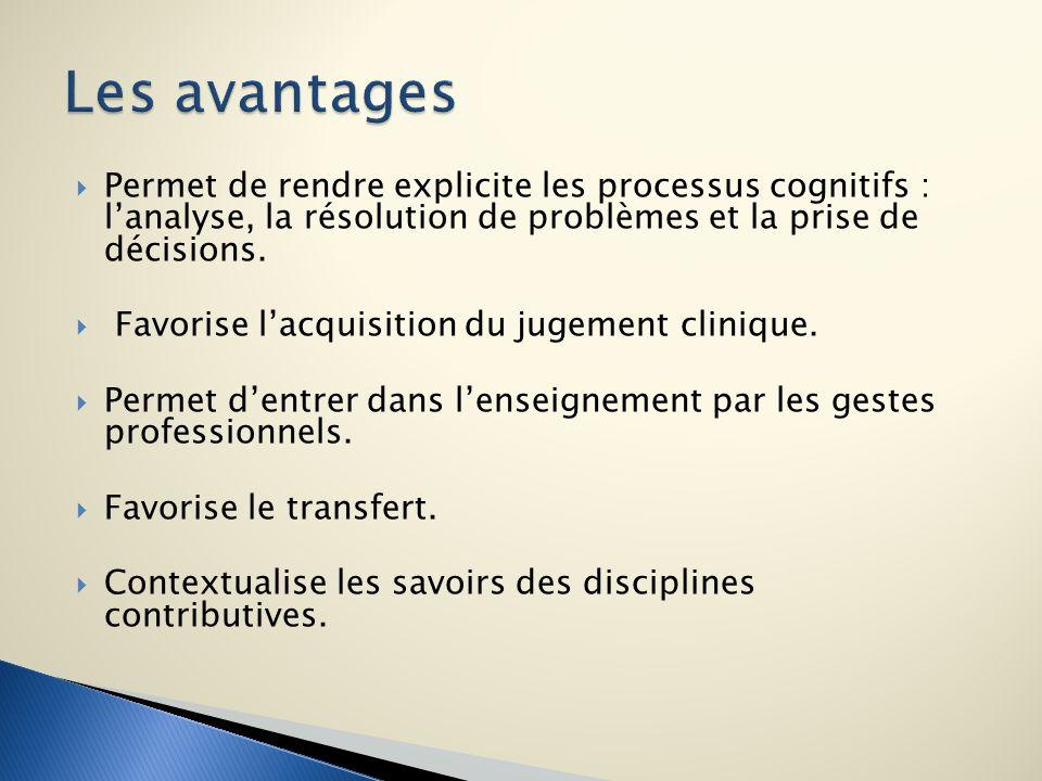Permet de rendre explicite les processus cognitifs : lanalyse, la résolution de problèmes et la prise de décisions. Favorise lacquisition du jugement