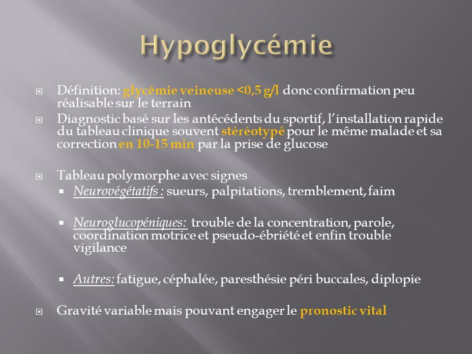 Définition: glycémie veineuse <0,5 g/l donc confirmation peu réalisable sur le terrain Diagnostic basé sur les antécédents du sportif, linstallation r