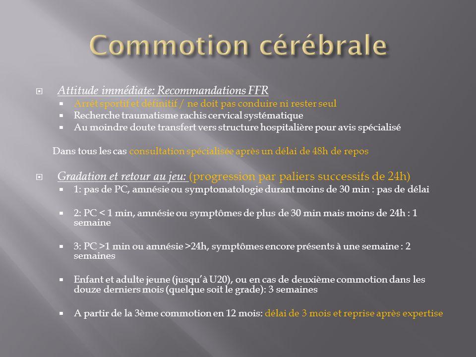 Attitude immédiate: Recommandations FFR Arrêt sportif et définitif / ne doit pas conduire ni rester seul Recherche traumatisme rachis cervical systéma