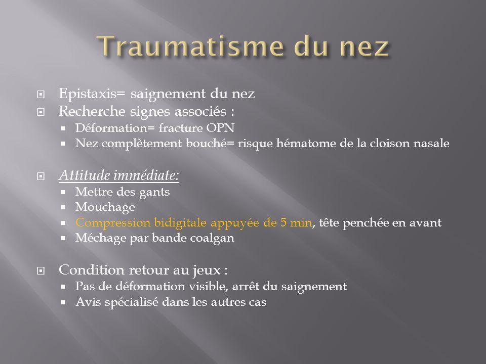 Epistaxis= saignement du nez Recherche signes associés : Déformation= fracture OPN Nez complètement bouché= risque hématome de la cloison nasale Attit