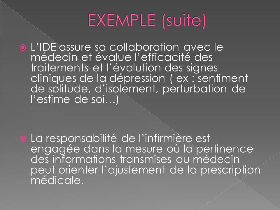 LIDE assure sa collaboration avec le médecin et évalue lefficacité des traitements et lévolution des signes cliniques de la dépression ( ex : sentimen