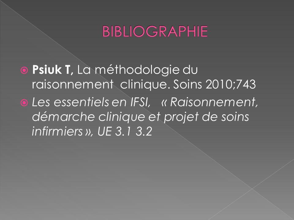 Psiuk T, La méthodologie du raisonnement clinique. Soins 2010;743 Les essentiels en IFSI, « Raisonnement, démarche clinique et projet de soins infirmi