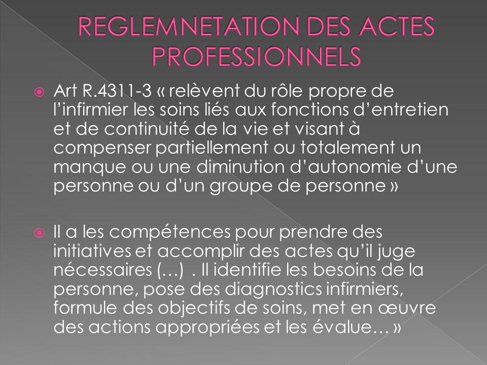 Art R.4311-3 « relèvent du rôle propre de linfirmier les soins liés aux fonctions dentretien et de continuité de la vie et visant à compenser partiell