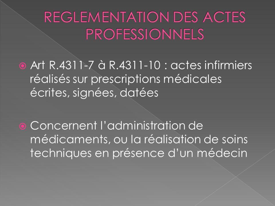 Art R.4311-7 à R.4311-10 : actes infirmiers réalisés sur prescriptions médicales écrites, signées, datées Concernent ladministration de médicaments, o