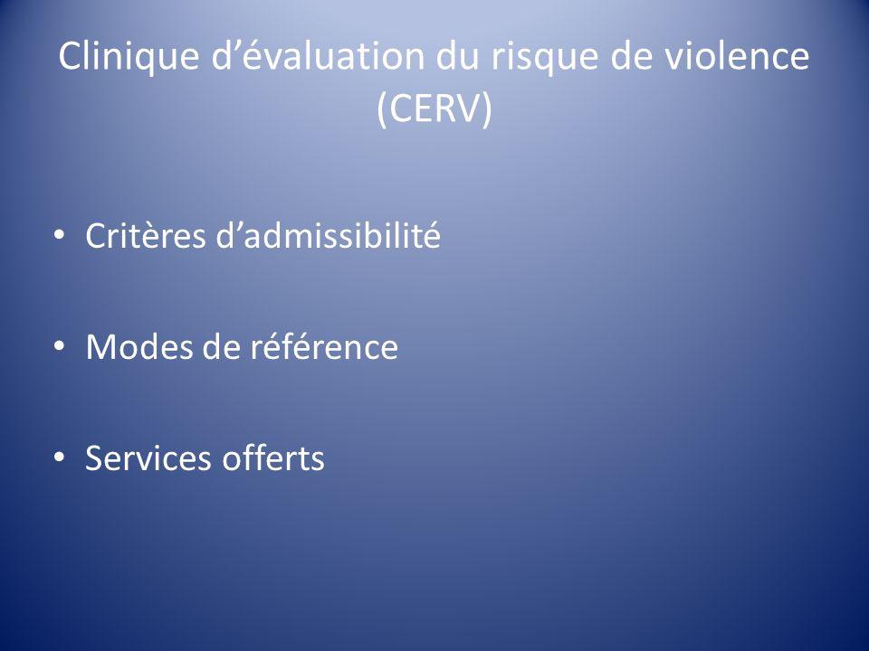 Clinique dévaluation du risque de violence (CERV) Critères dadmissibilité Modes de référence Services offerts