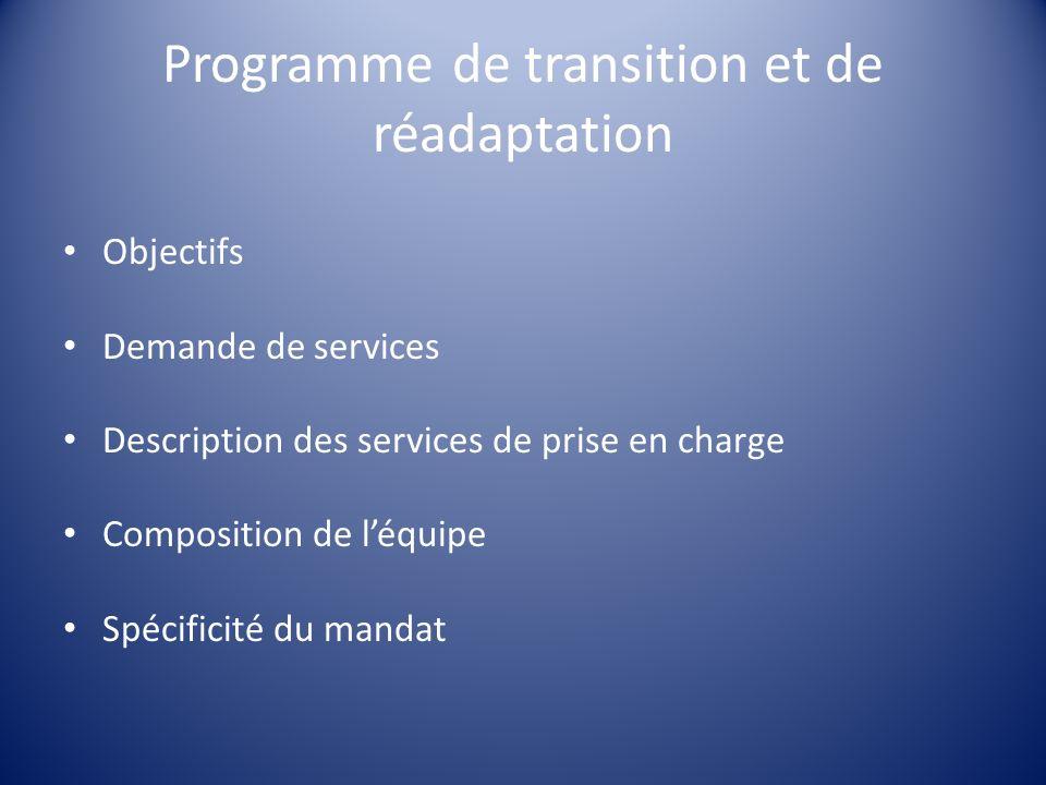 Programme de transition et de réadaptation Objectifs Demande de services Description des services de prise en charge Composition de léquipe Spécificit