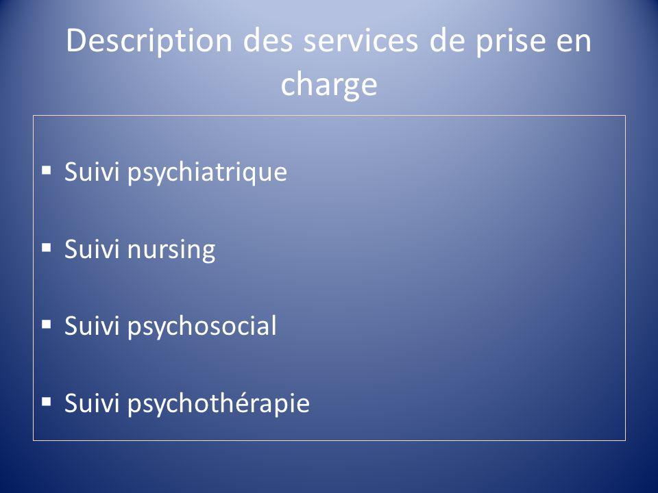 Description des services de prise en charge Suivi psychiatrique Suivi nursing Suivi psychosocial Suivi psychothérapie