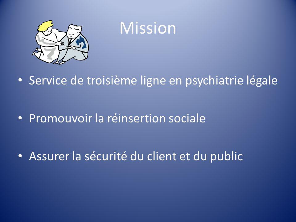 Mission Service de troisième ligne en psychiatrie légale Promouvoir la réinsertion sociale Assurer la sécurité du client et du public