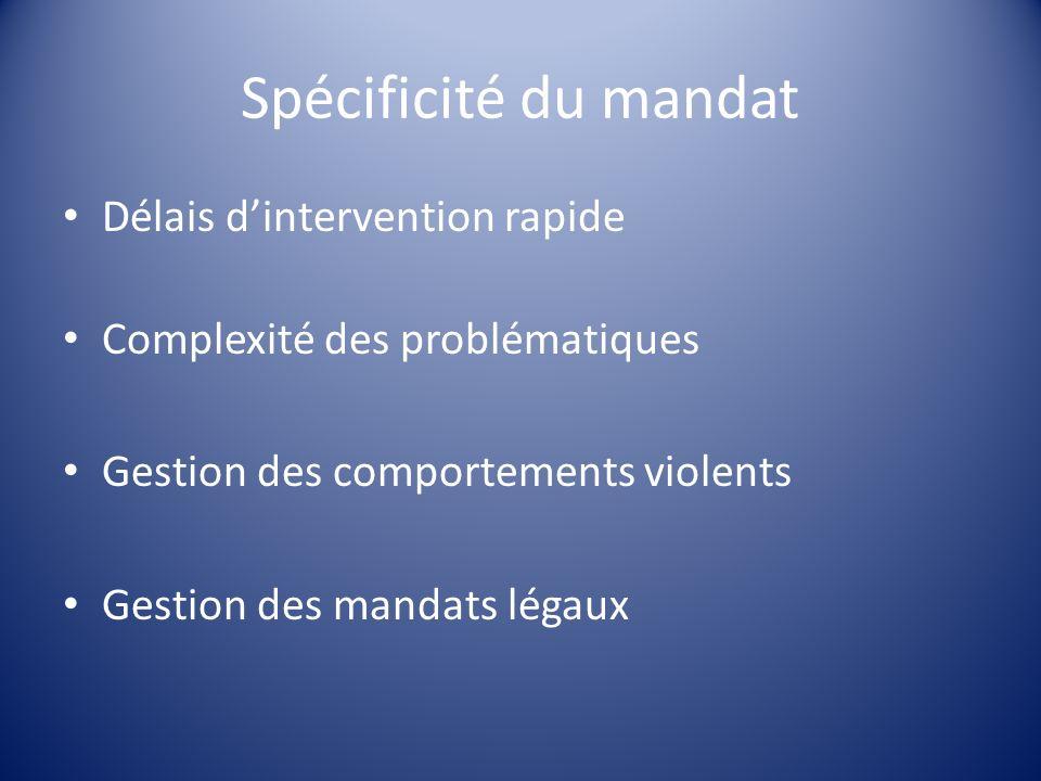 Spécificité du mandat Délais dintervention rapide Complexité des problématiques Gestion des comportements violents Gestion des mandats légaux