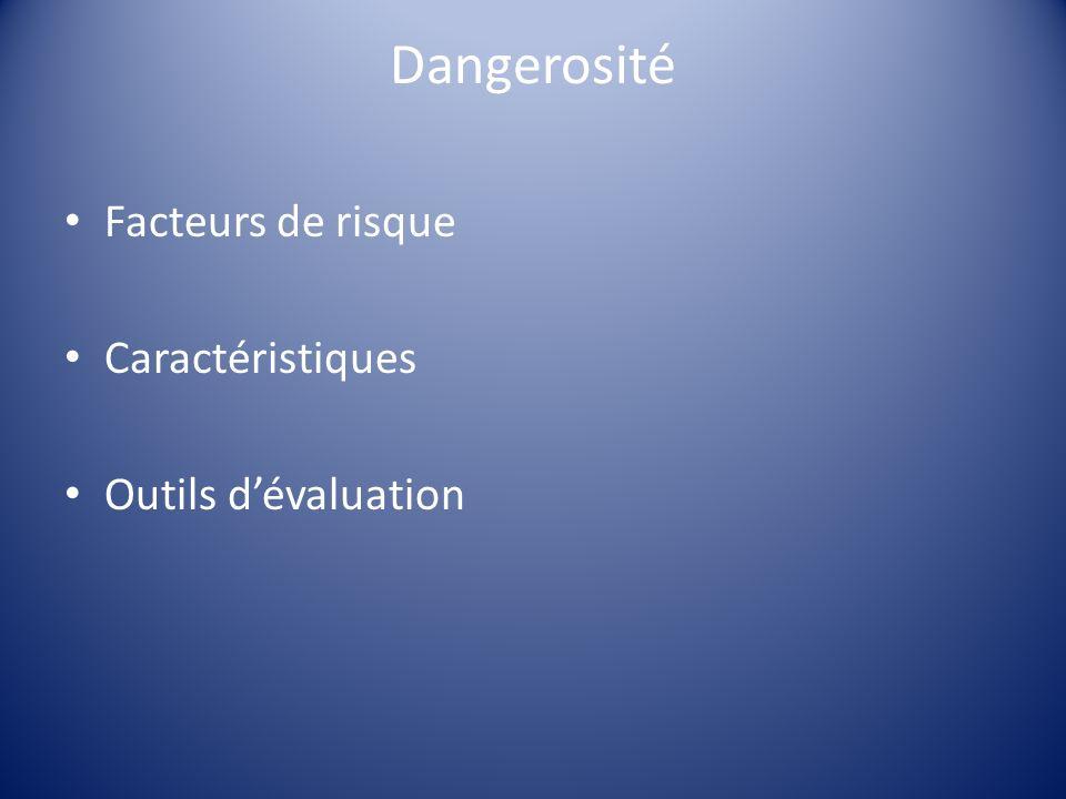 Dangerosité Facteurs de risque Caractéristiques Outils dévaluation